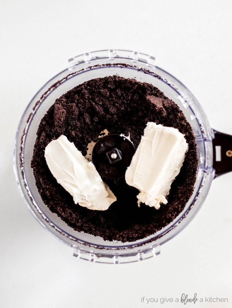 crushed oreos with cream cheese in food processor step