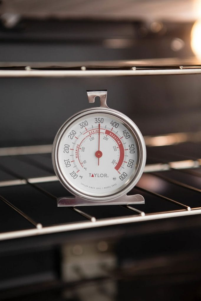 oven thermometer on oven rack