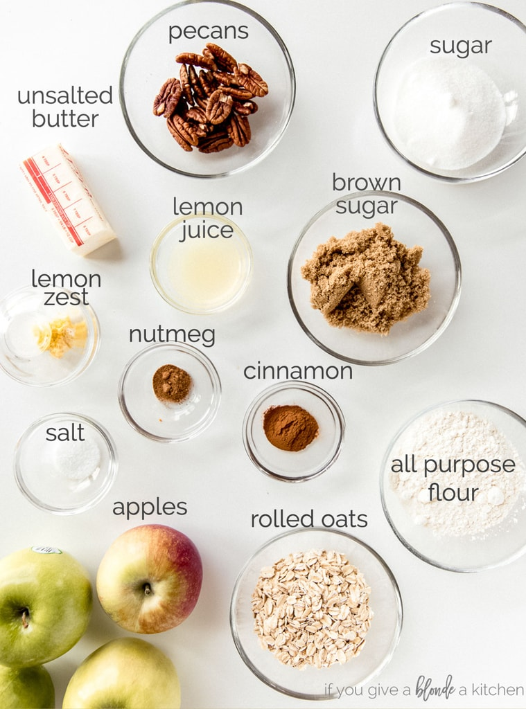 apple crisp ingredients in bowls labeled with text
