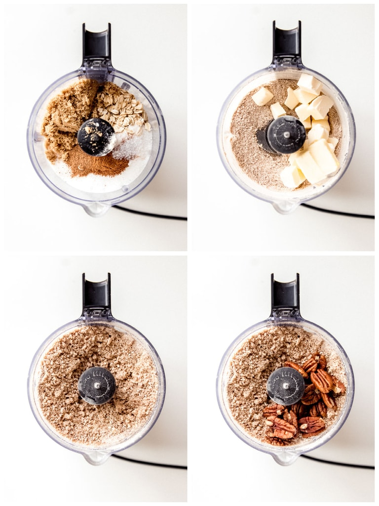 photo collage demonstrating how to make apple crisp topping in a food processor