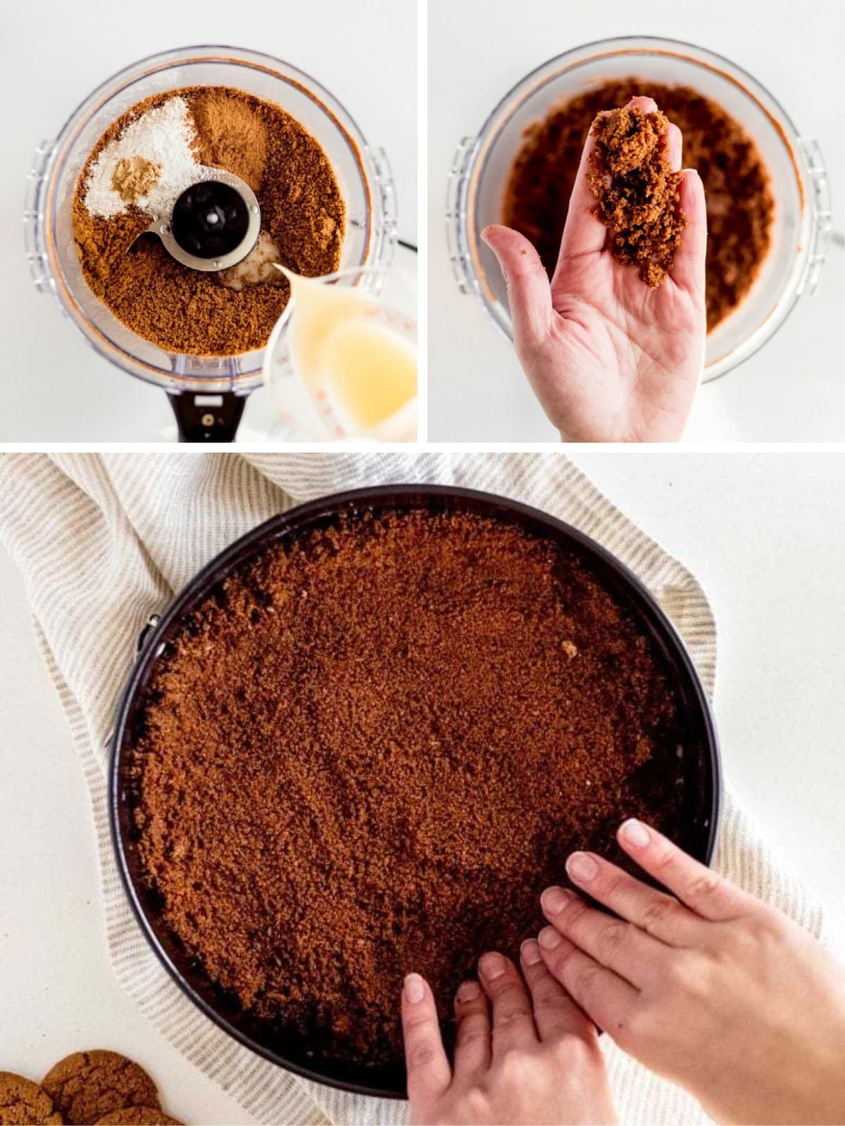 photo collage demonstrating how to make a gingersnap crust