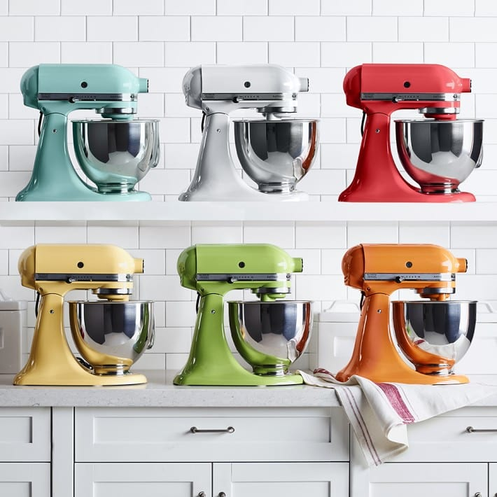 siz kitchenaid stand mixers in various colors