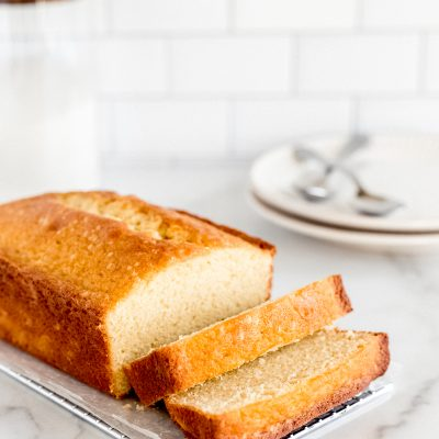loaf of pound cake with two slices cut off