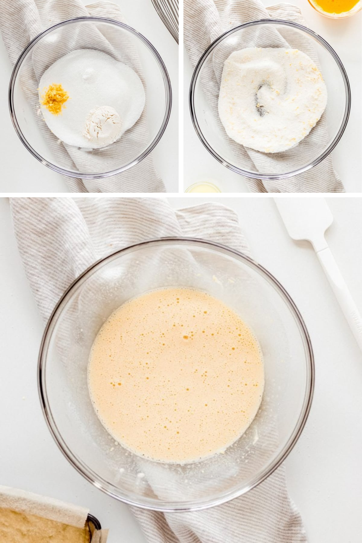photo collage demonstrating how to make filling for lemon bars
