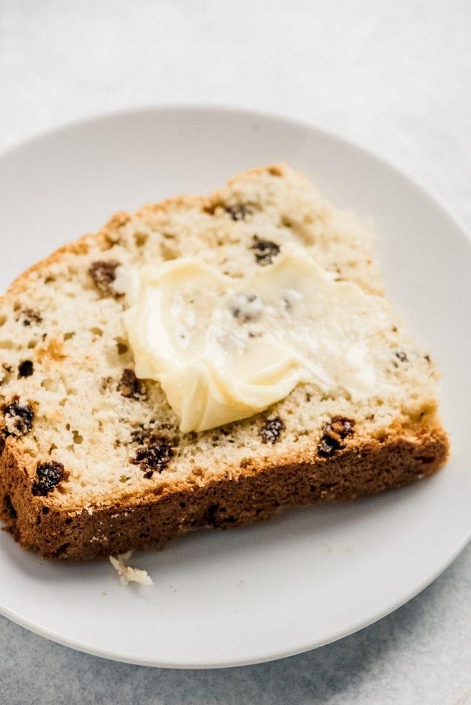 slice of irish soda bread for butter spread