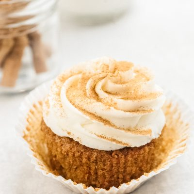 carrot cake cupcake with paper liner removed