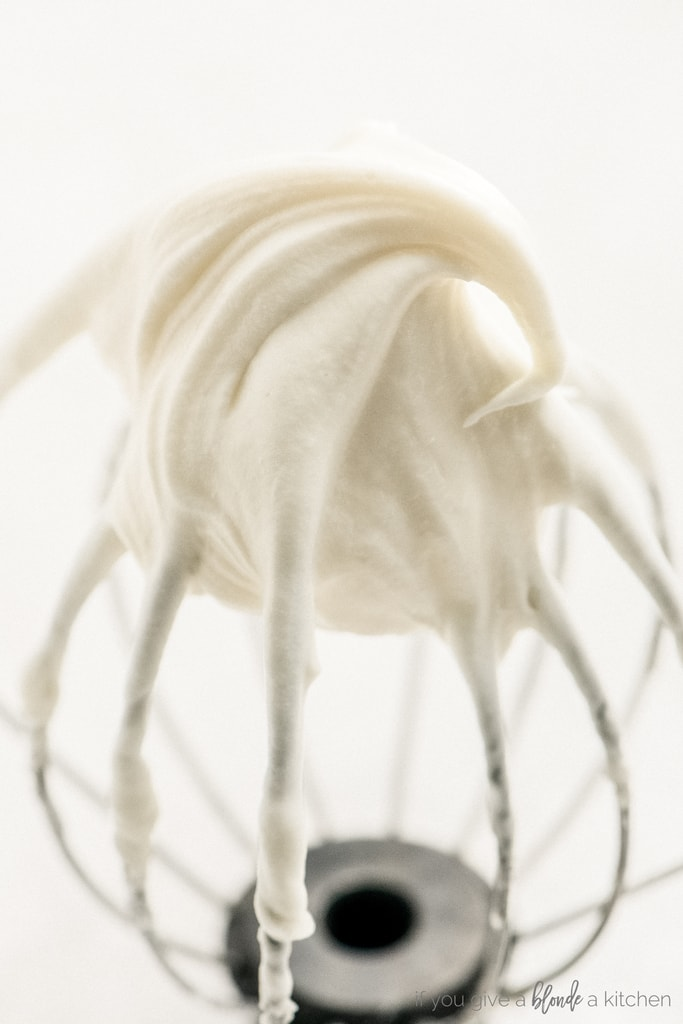 cream cheese frosting on whisk attachment for stand mixer