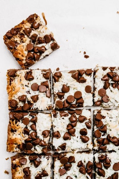 magic cookie bars but into squares with corner piece pulled away