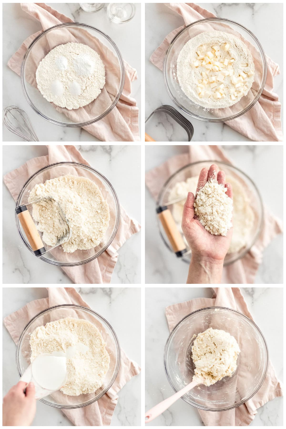 photo collage demonstrating how to make buttermilk biscuit dough