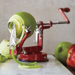 granny smith apple peeled on 3 in 1 apple peeler corer