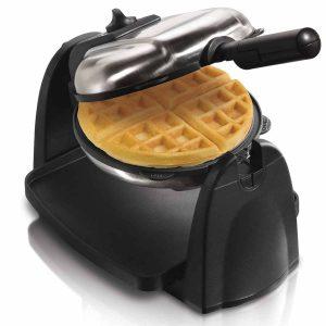 belgian waffle maker open with waffle inside