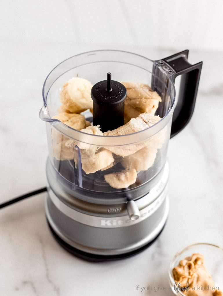 chopped bananas in mini food processor