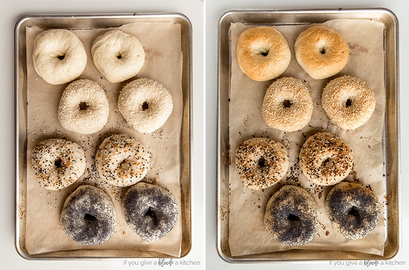 before and after baking homemade bagels on baking sheet