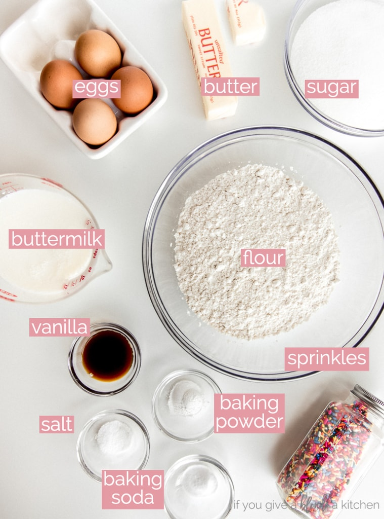 funfetti cake ingredients labeled