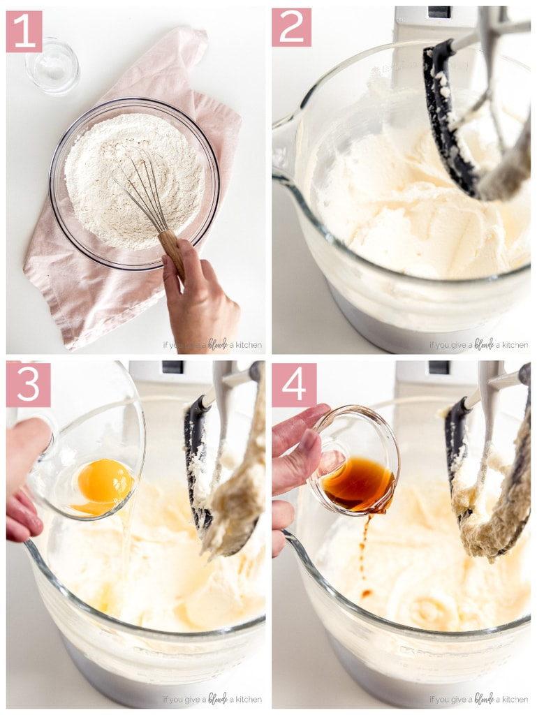 step-by-step picture collage demonstrating how to make funfetti cake batter