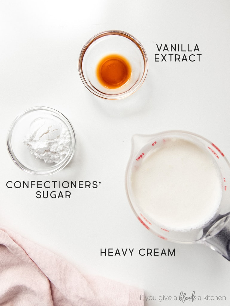 whipped cream ingredients labeled vanilla, confectioners' sugar and heavy cream