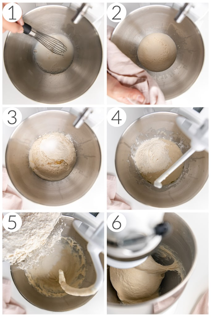 step by step photos making sandwich bread in stand mixer with knead hook