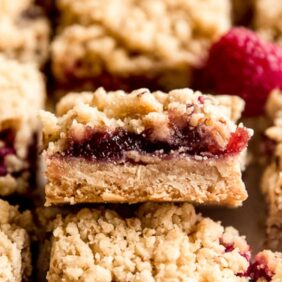 raspberry bar propped up to show fruit filling