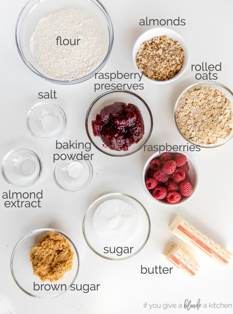 raspberry oatmeal bars ingredients in bowls labeled