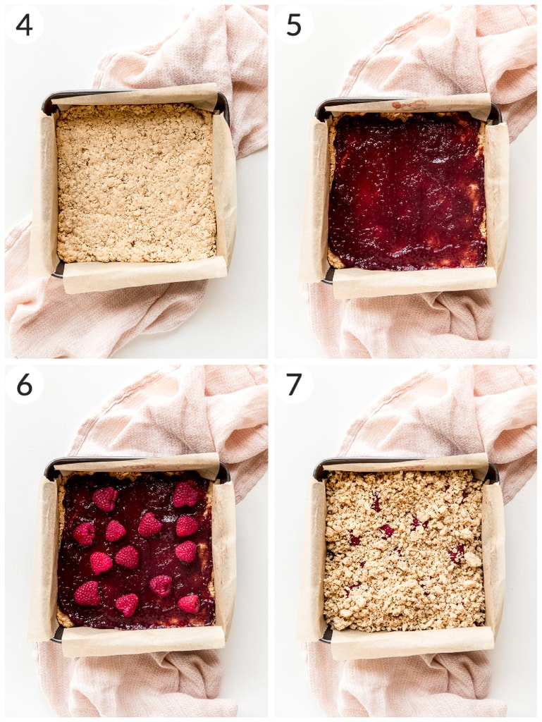 photo collage showing steps to layering raspberry oatmeal bars