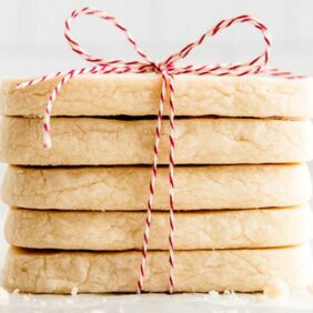 shortbread cookies in a stack and tied in red bakers twine