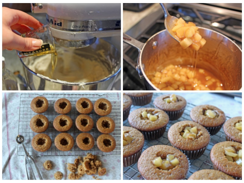 photo collage with steps to make fireball cupcakes