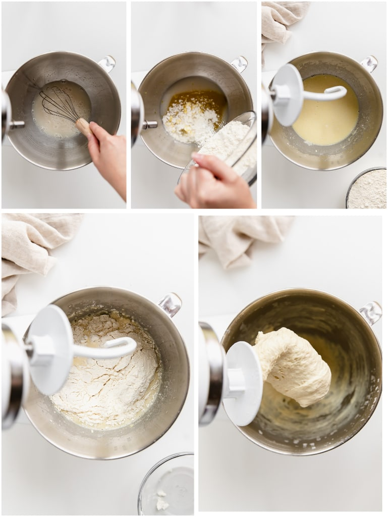 photo collage depicting how to make focaccia dough in stand mixer