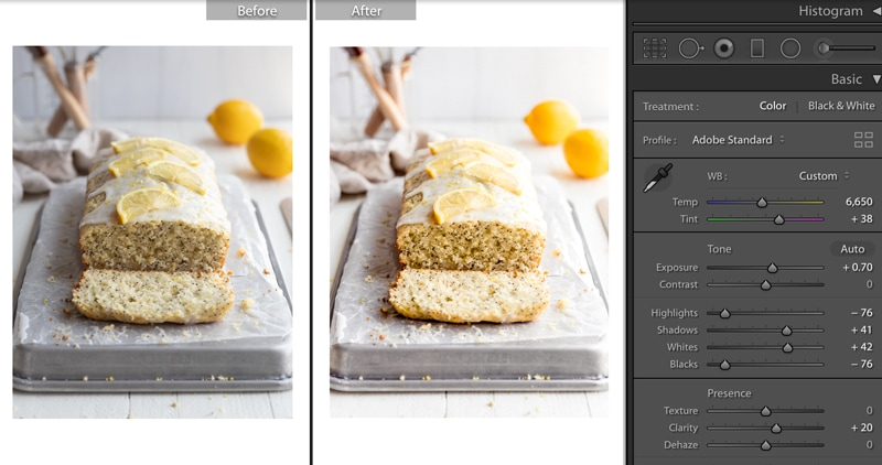 screenshot of lemon poppy seed bread photos in lightroom before and after editing