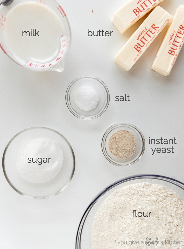 croissant ingredients in bowls labeled