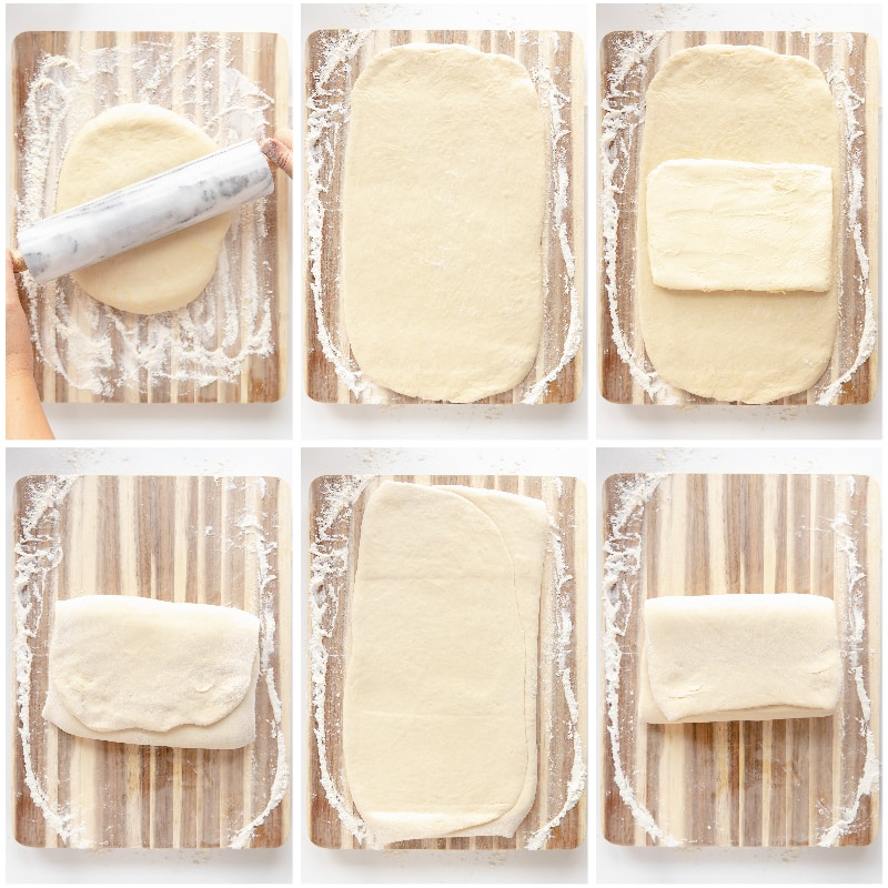 photo collage demonstrating how to laminate dough for croissants