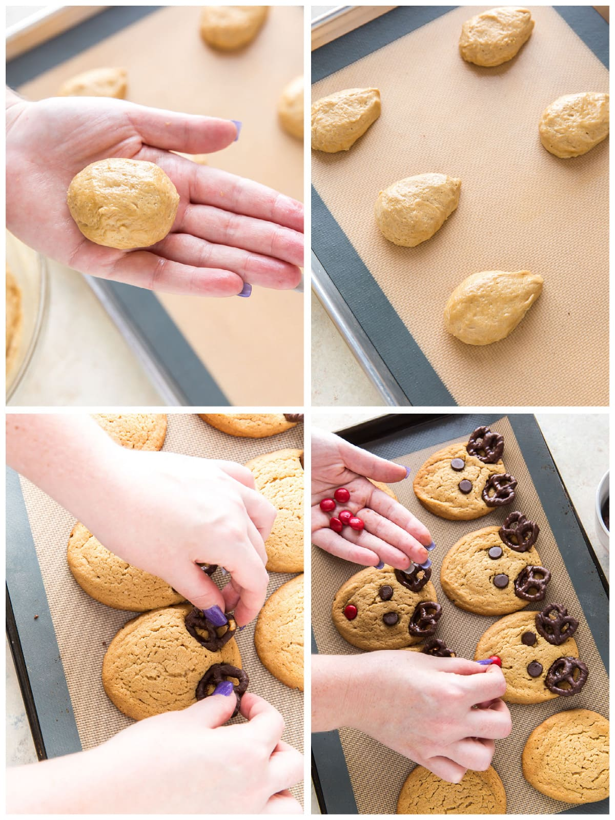 collage of shaping reindeer cookies and adding pretzel antlers