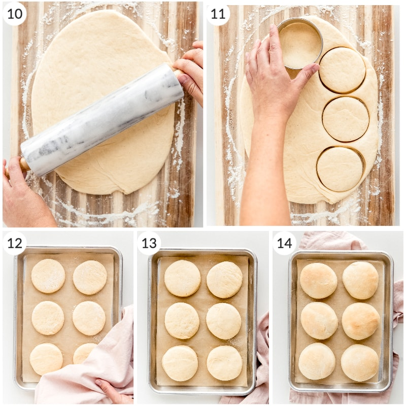 photo collage how to roll and cut dough for yeast donuts