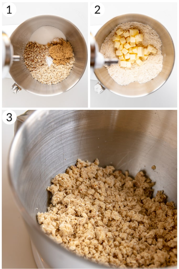 photo collage showing how to make oatmeal crumble in mixing bowl