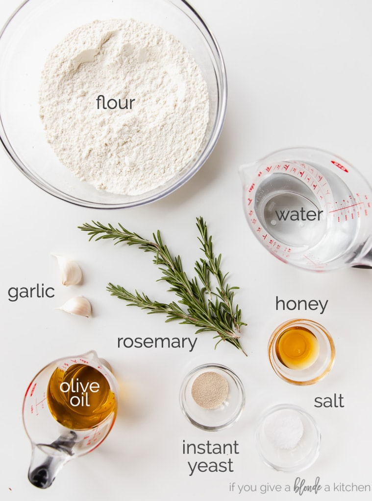 focaccia bread ingredients labeled