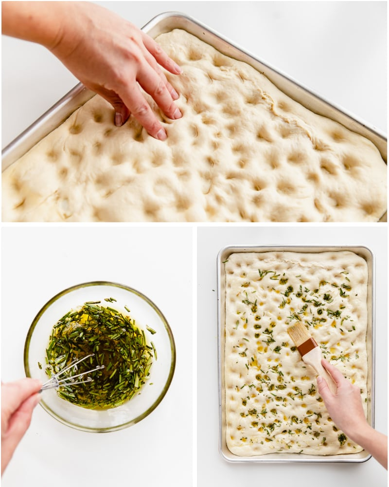 photo collage demonstrating how to poke holes in focaccia dough and spread rosemary garlic olive oil
