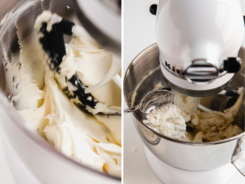 photo collage of how to make shortbread cookie dough in the bowl of a stand mixer