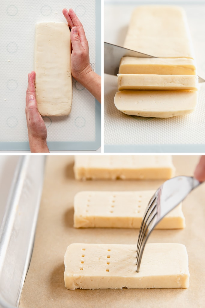 photo collage demonstrating how to shape and cut shortbread cookies