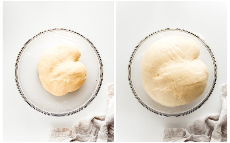 before and after photo collage of cinnamon roll dough rising