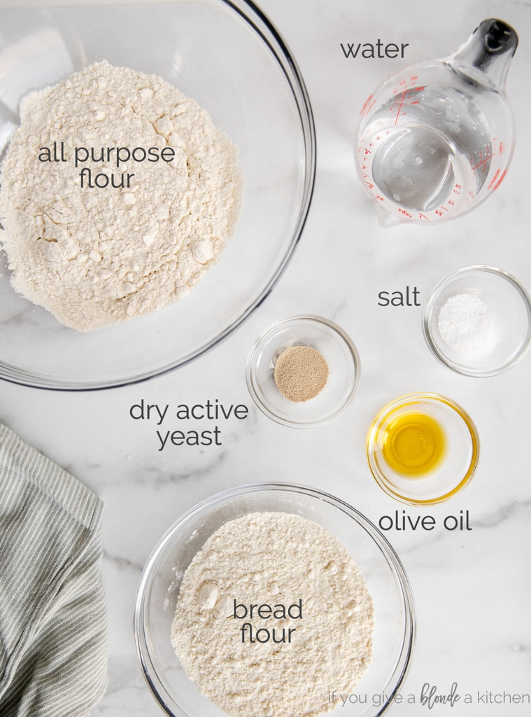 pizza dough ingredients in bowls and labeled with text