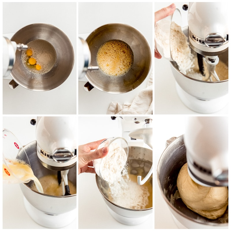 photo collage demonstrating how to make cinnamon roll dough in a stand mixer