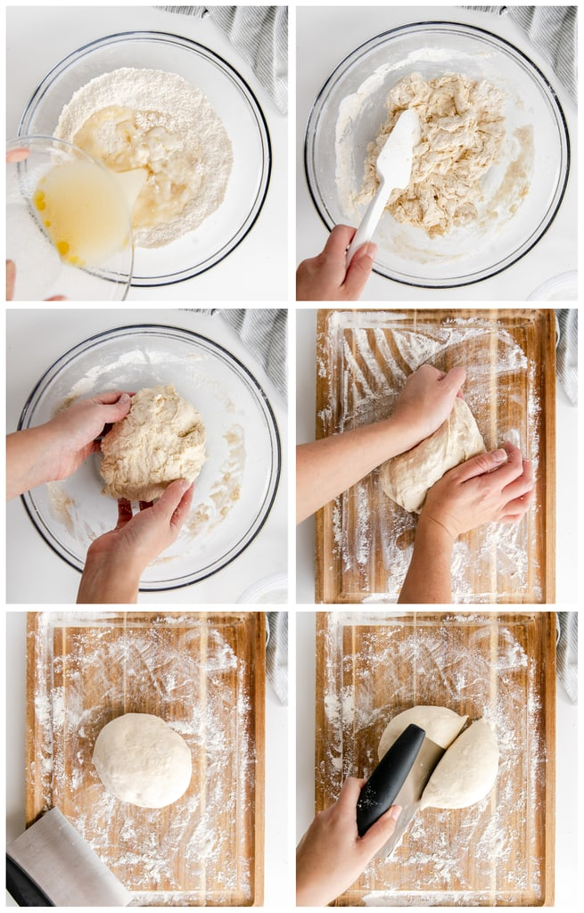 photo collage demonstrating how to make pizza dough by hand