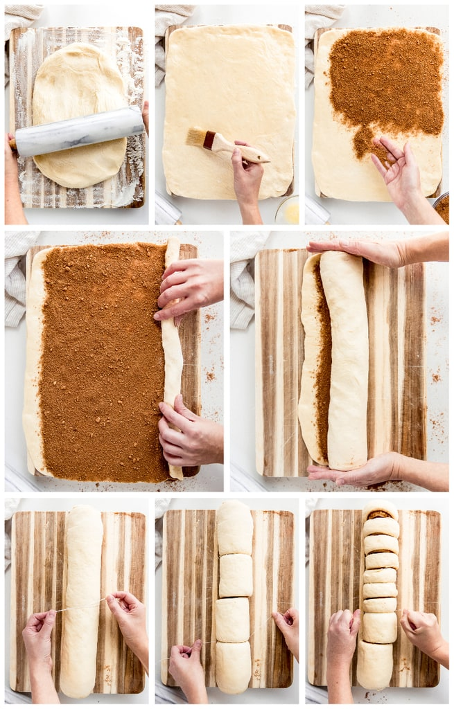 photo collage demonstrating how to fill, roll and cut cinnamon rolls