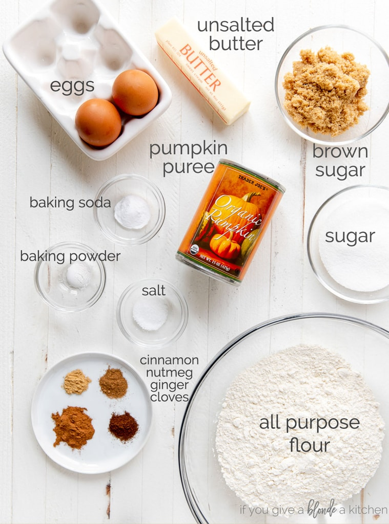 pumpkin bread ingredients labeled with text