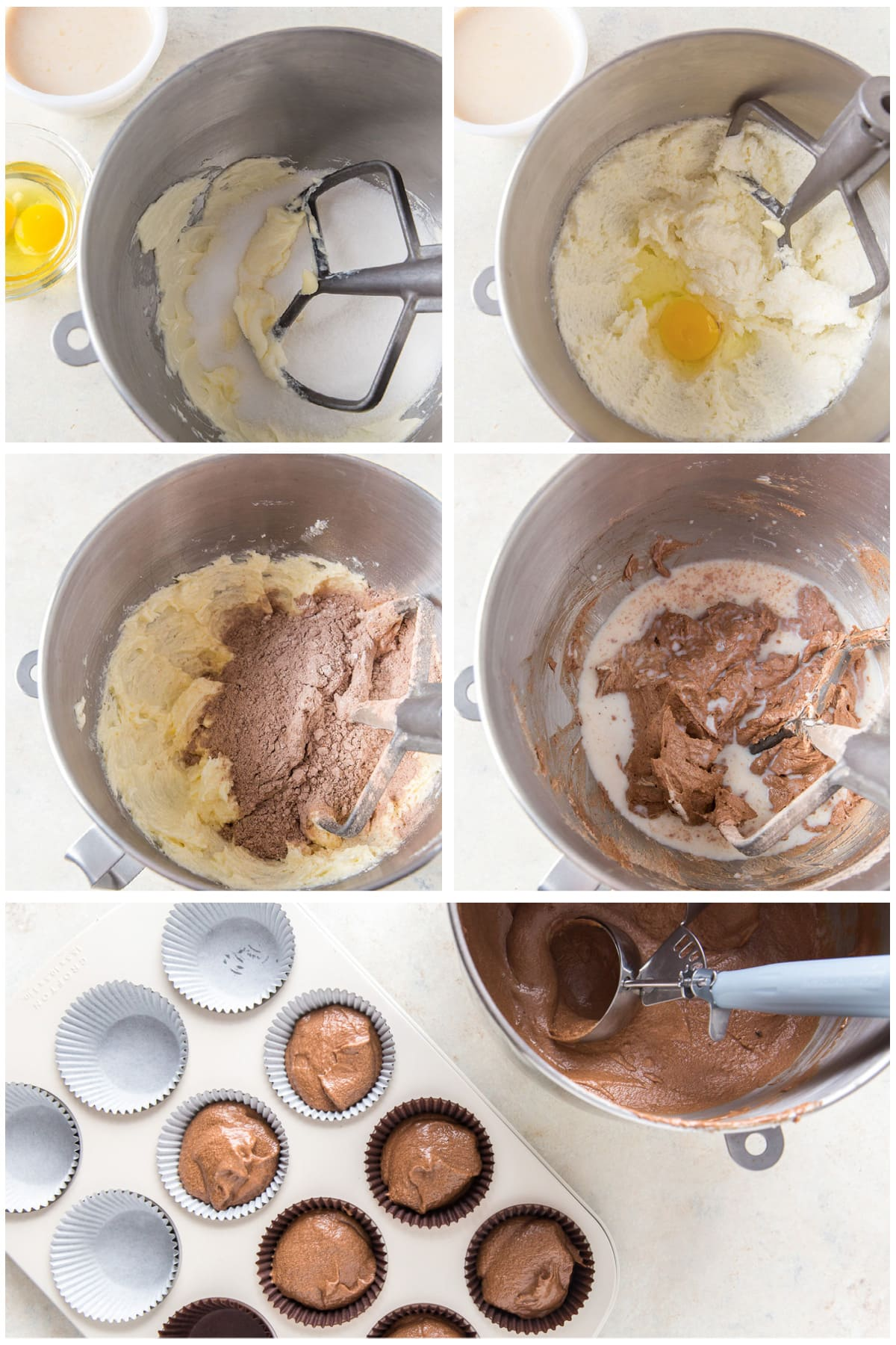 photo collage demonstrating how to make chocolate cupcakes in a mixing bowl and cupcake tin