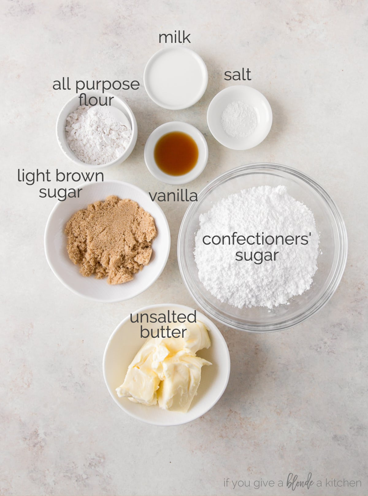 cookie dough frosting ingredients in bowls labeled with text