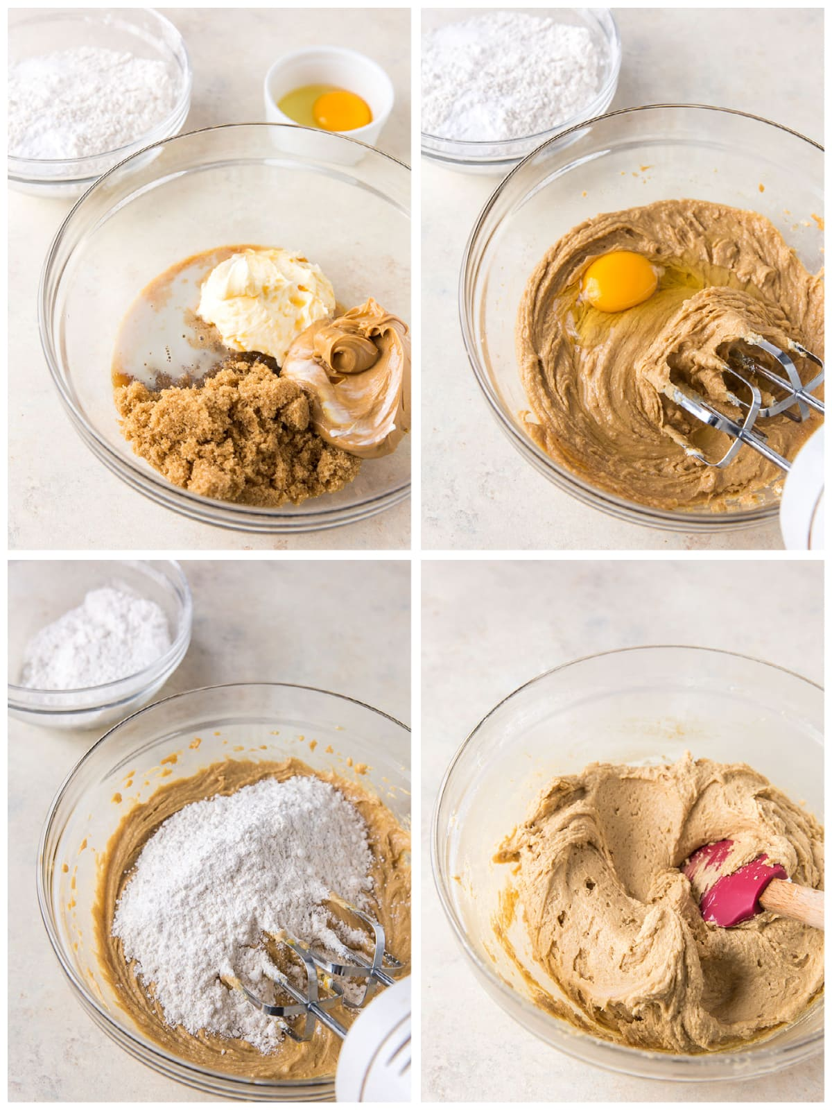 photo collage demonstrating how to make peanut butter reindeer cookie dough in a mixing bowl with a hand mixer