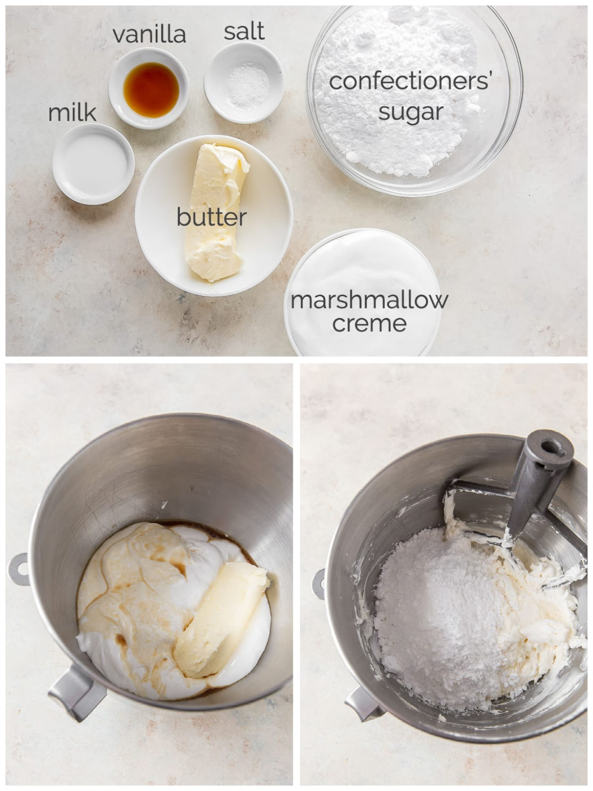 photo collage of marshmallow frosting ingredients and how to make frosting in a mixing bowl