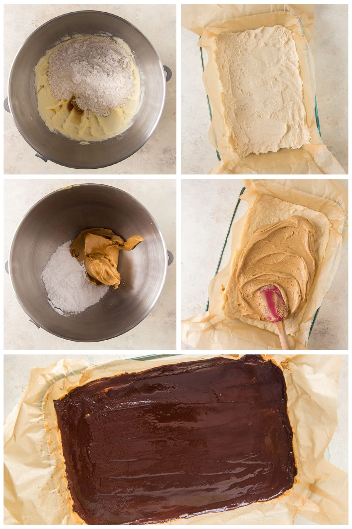 photo collage demonstrating how to make layers for peanut butter chocolate bars