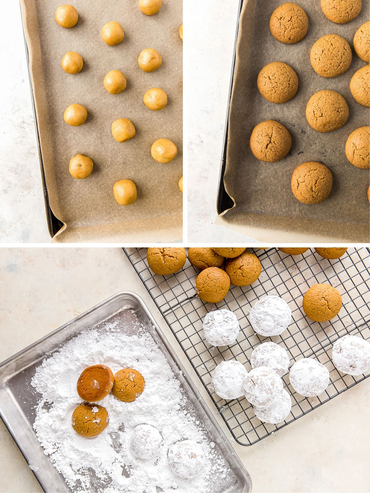 photo collage showing pfeffernusse before and after baking and coating in confectioners' sugar