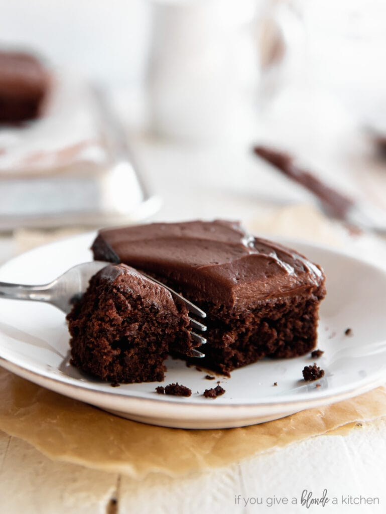 square slice of chocolate cake on plate with fork taking a bite from the cake